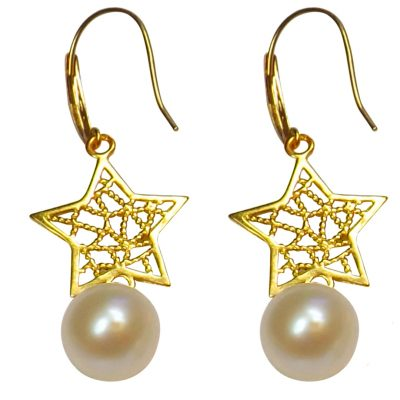 18k yellow gold dangling star white pearl earrings