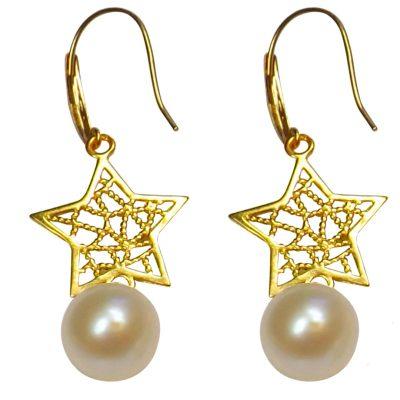18k yellow gold dangling star white pearl earrings