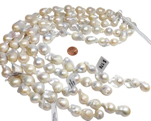 18x25mm Bead Nucleated Large Sized Baroque Pearl Strands with High Luster and Nice Shape