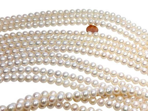 10-11mm White Round Pearl Strands