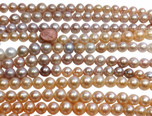Huge Sized 11-13mm Round Mauve, Multi-color and pink colored Pearl Strands