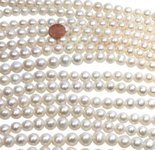 Huge Sized 11-13mm Round White Pearl Strands