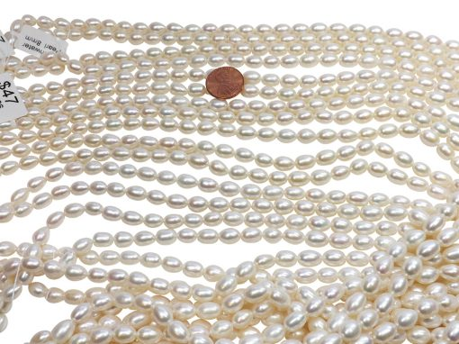 High Luster Gem Quality 7-9mm Rice Oval Shaped AAA Pearl Strand