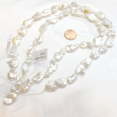 Large 11-20mm White Baroque Pearl Strand