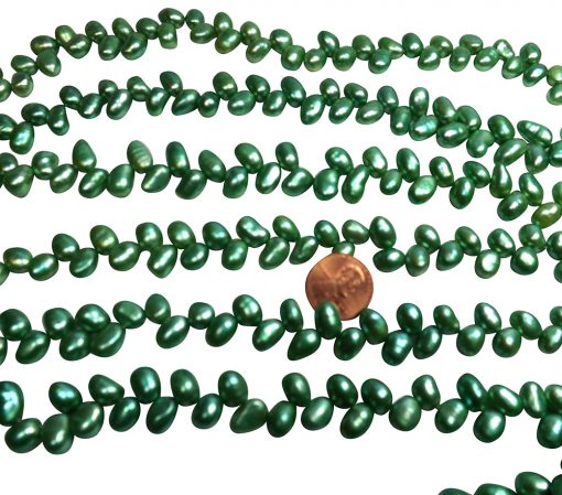 Green colored top drilled peanut pearl strands