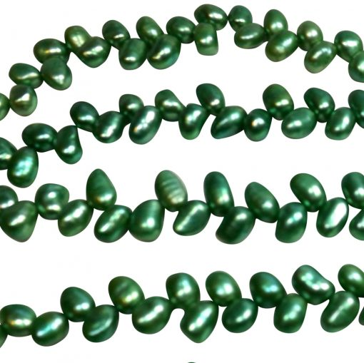 Green colored top drilled pearl strands