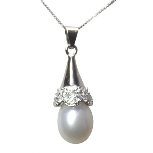 925 Sterling Silver 7mm pink mauve and black Drop Pearl Necklace in cone design