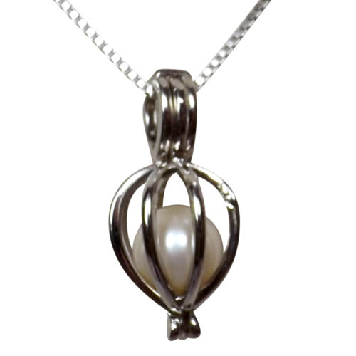 Adjustable length heart shaped 925 pearl cage necklace