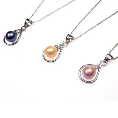 925 Sterling Silver 7mm pink mauve and black Drop Pearl Necklace in Loop