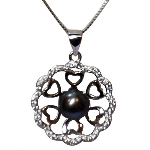 Large Flower Shaped Black Pearl Pendant Necklace All Sterling Silver