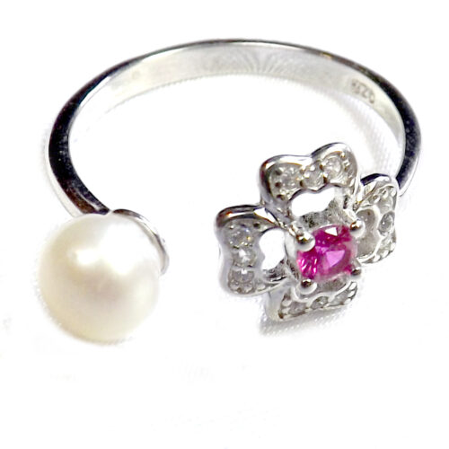 925 Sterling Silver White Pearl Ring Adjustable Size