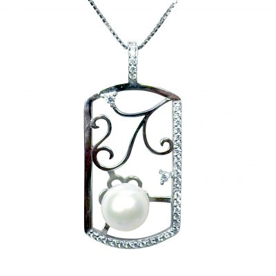 925 Sterling Silver Large Rounded Rectangular White pearl Pendant