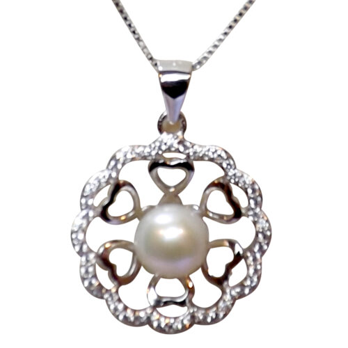 Large Flower ShapedWhite Pearl Pendant Necklace All Sterling Silver