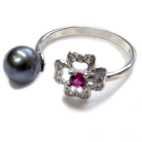 925 Sterling Silver Black Pearl Ring Adjustable Size