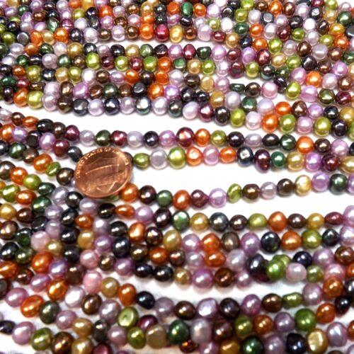 multi-colored 6-7mm baroque pearl strands