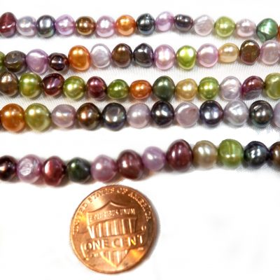 multi-colored 6-7mm baroque pearl strands