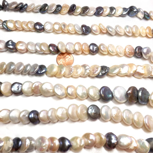 multi color 13-14mm round coin pearl strands