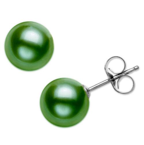 dark green pearl earrings in sterling silver