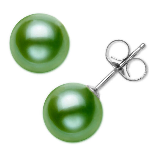 light green pearl earrings in sterling silver