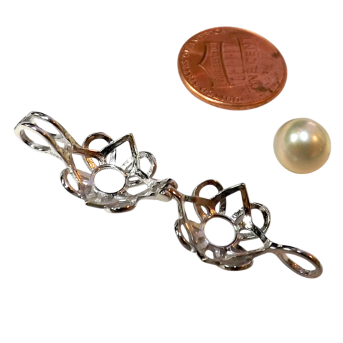 flower silver pearl cage