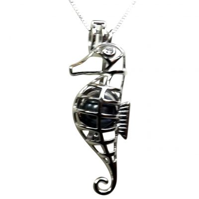 925 Sterling Seahorse Cage Locket Pendant