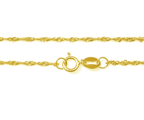18in Long 925 Sterling Silver Chain with 18K Yellow Gold