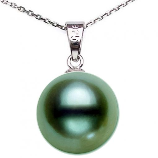 Large 9-10mm dark green Round Pearl Pendant necklace