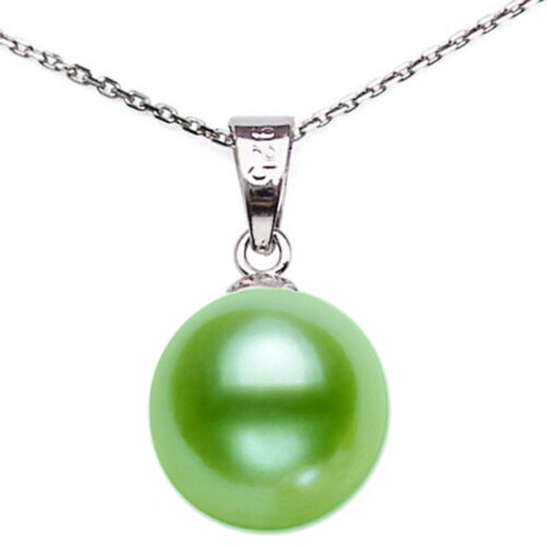Large 9-10mm light green Round Pearl Pendant necklace