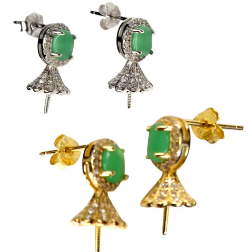 18k yellow or white gold over 925 sterling silver jade earring settings
