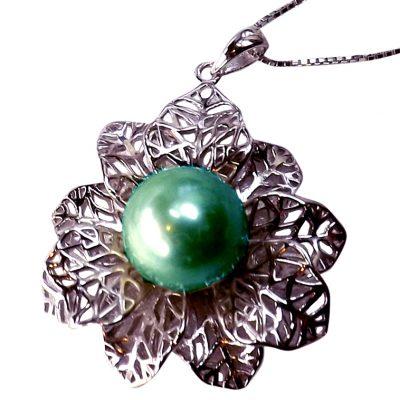 Large 925 Sterling Silver Tahitian Green Pearl Pendant