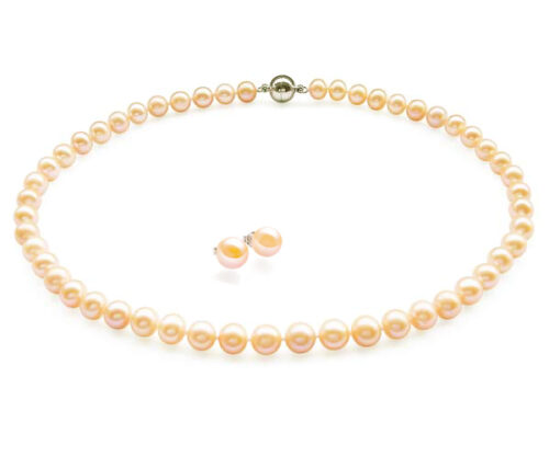 Pink Colored 8-9mm Round Black Pearl Necklace Earrings Set