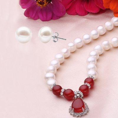 Real Pearl Necklace Red Agate 925 Silver Set Earrings