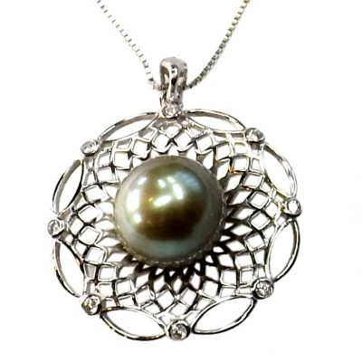 sterling silver large black pearl pendant