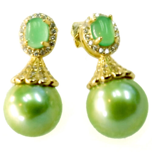 18K Yellow Gold Over 925 Sterling Silver Jade Pearl Earring