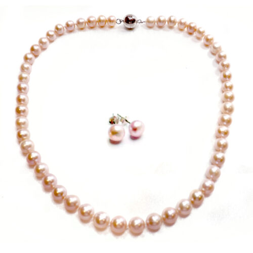 Mauve Colored 8-9mm Round Black Pearl Necklace Earrings Set