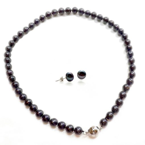 Black Colored 8-9mm Round Black Pearl Necklace Earrings Set