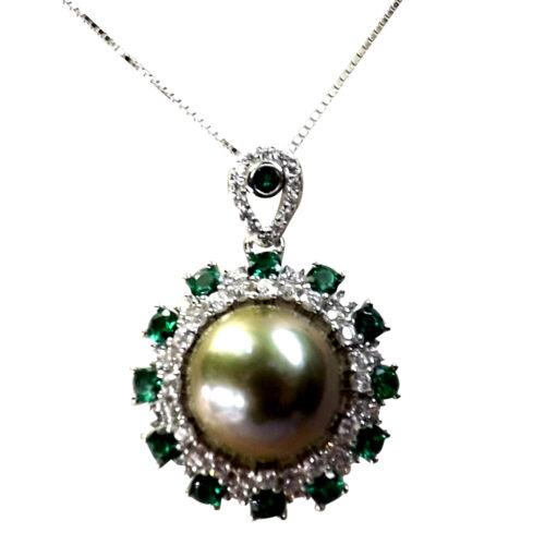 sterling silver sun flower shaped pearl pendant