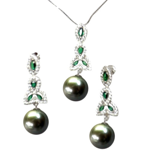 925 Sterling Silver Pearl and Emeralds Pendant and Earrings Set