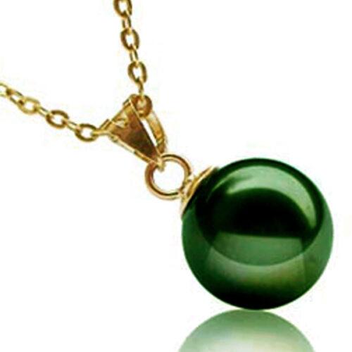 18k gold peacock green 10-12mm pearl pendant
