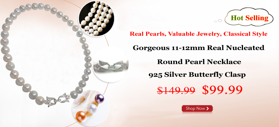 11-13mm Real Nucleated Round Pearl Necklace 925S Butterfly