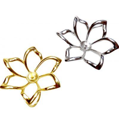 Simple Elegant Large 925 Sterling Silver Flower Shaped Pendant Setting