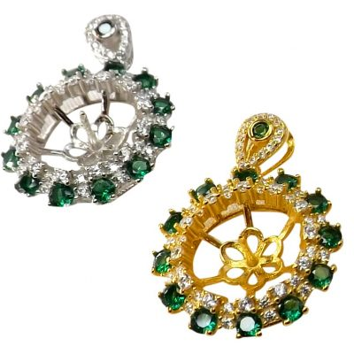 18KG over 925 Sterling Silver Flower gemstone setting in diamonds and emeralds
