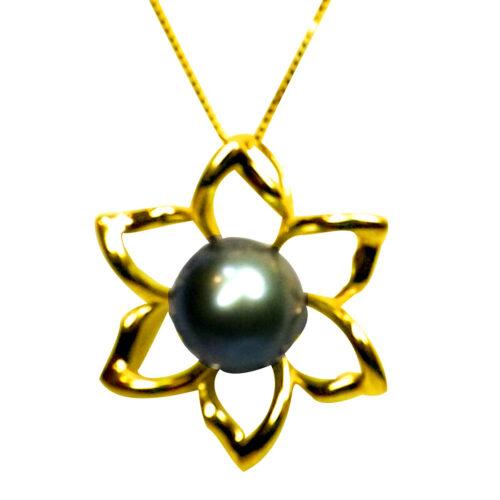 Simple Elegant Large 925 Sterling Silver Flower Shaped Pearl Pendant