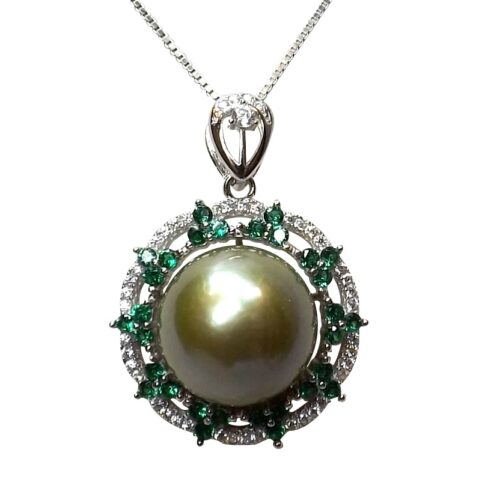 Large 18k White Gold over 925 Sterling Silver Flower Shaped Pearl Pendant