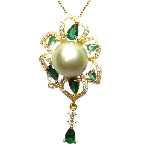 18K Yellow Gold over 925 Sterling Silver Flower gemstone setting in diamonds and emeralds