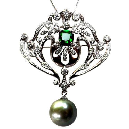 Gorgeous 18K Gold Over 925 Sterling Silver Large Pearl Pendant Crown Design