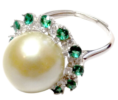 Huge 12mm adjustable 925 sterling silver pearl ring