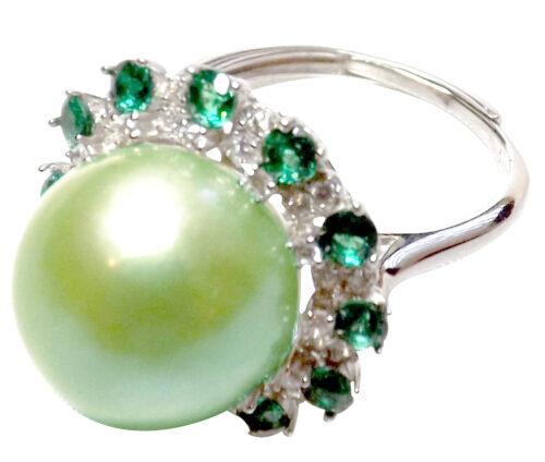 Light Green Huge 12mm adjustable 925 sterling silver pearl ring
