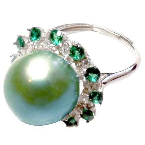 Tahitian Green Huge 12mm adjustable 925 sterling silver pearl ring