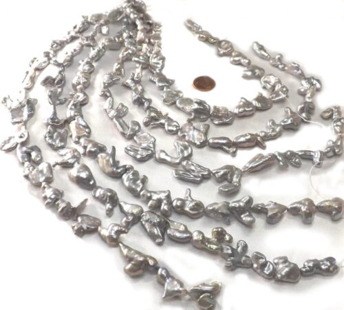 Unique Free-Formed Beautiful Grey Colored Large Coin Pearl Strand